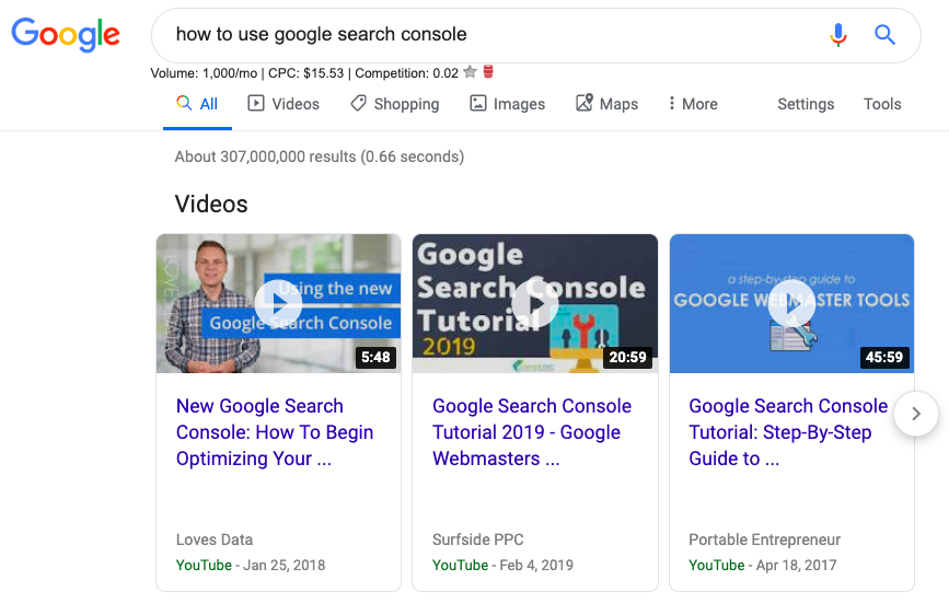 video carousel in google search