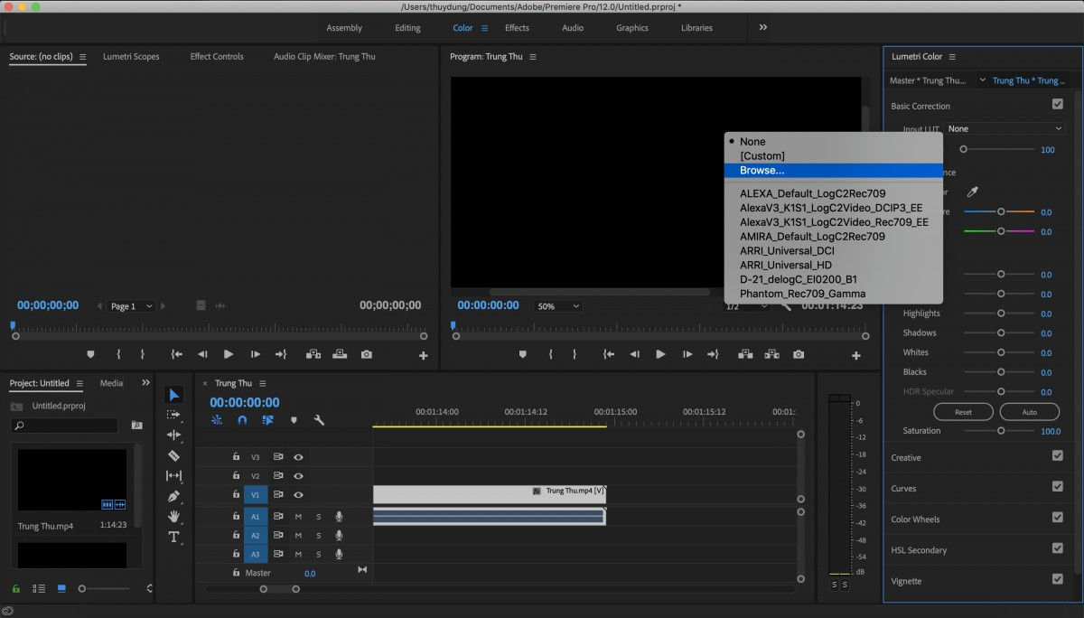 Chỉnh màu video trong Adobe Premiere