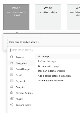 Building a page navigation event in Bubble's no-code editor
