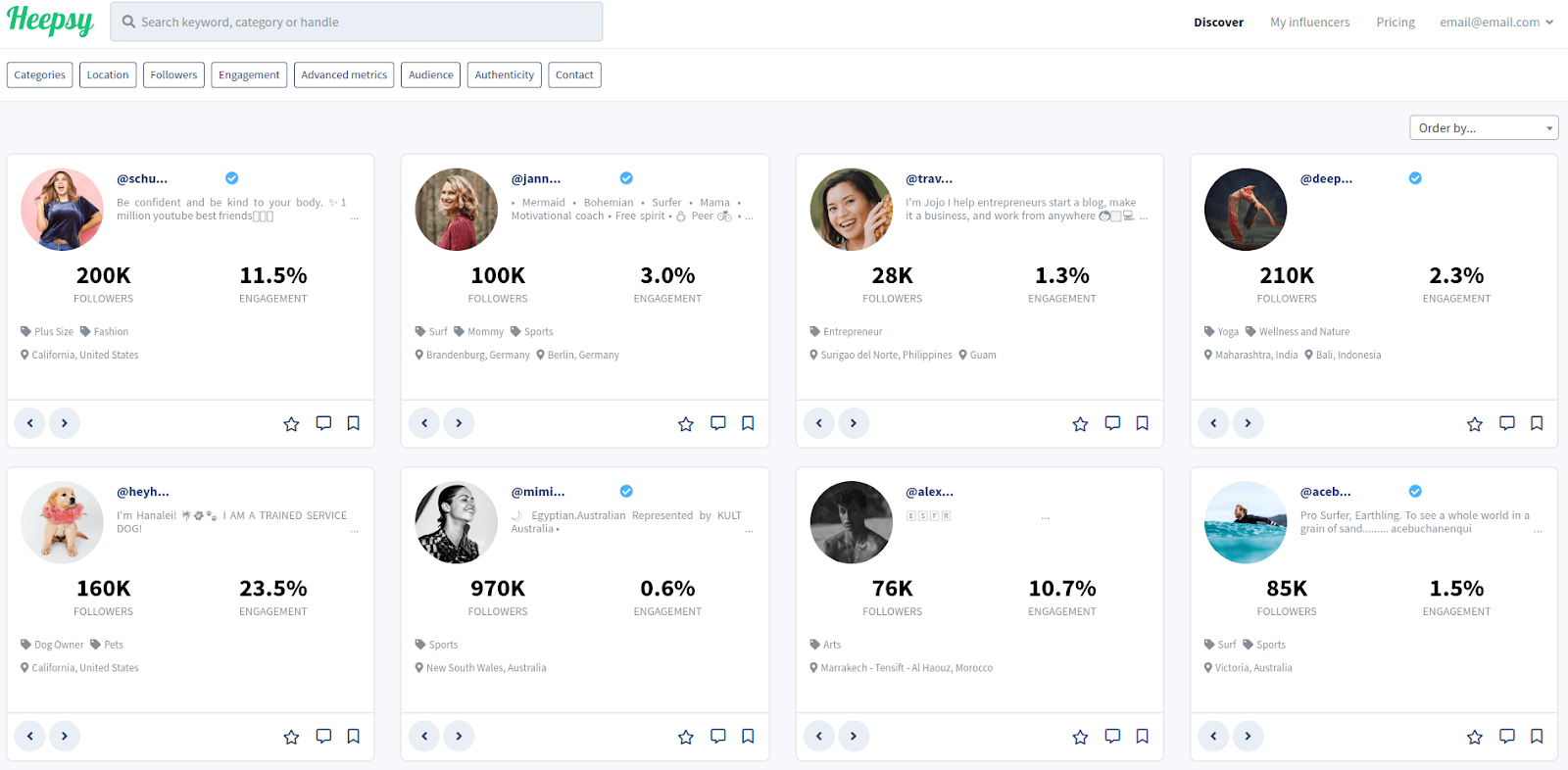 Heepsy - Tools to Find Influencers