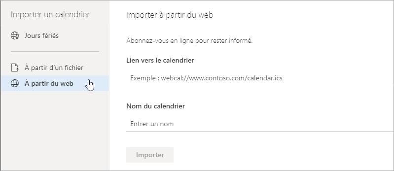 Capture d'écran de l'option Importer à partir du Web