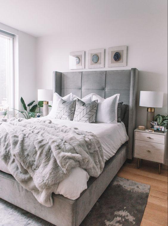 Use Gray Upholstered Bed Frame