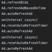 Screenshot of Javascript code on a publisher website, which refreshes ad slots on a website approximately every 30 seconds.