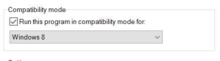The Compatibility mode checkbox