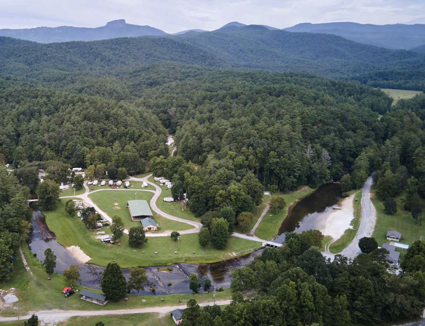 Campground at the base of mountains in Western North Carolina