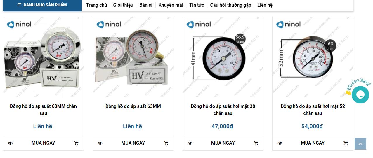 Có thể xem giá đồng hồ đo áp suất ngay trên web
