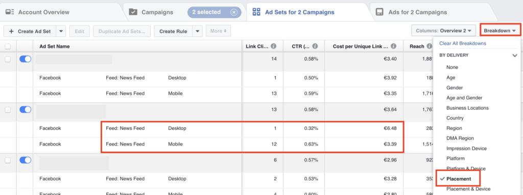 Ấn vào Placement trong mục Breakdown để đặt vị trí quảng cáo hiệu quả nhất