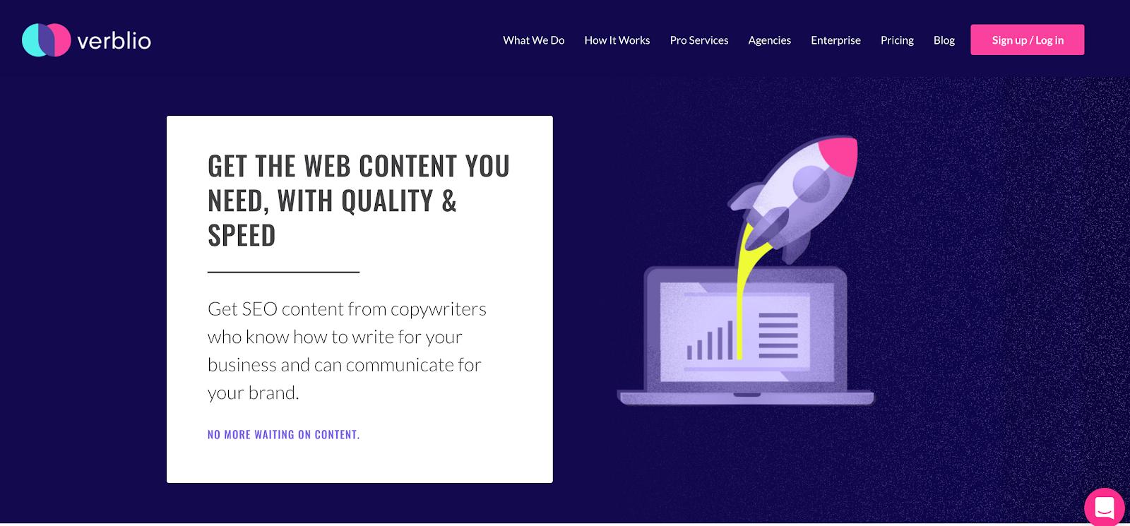 Verblio service page example