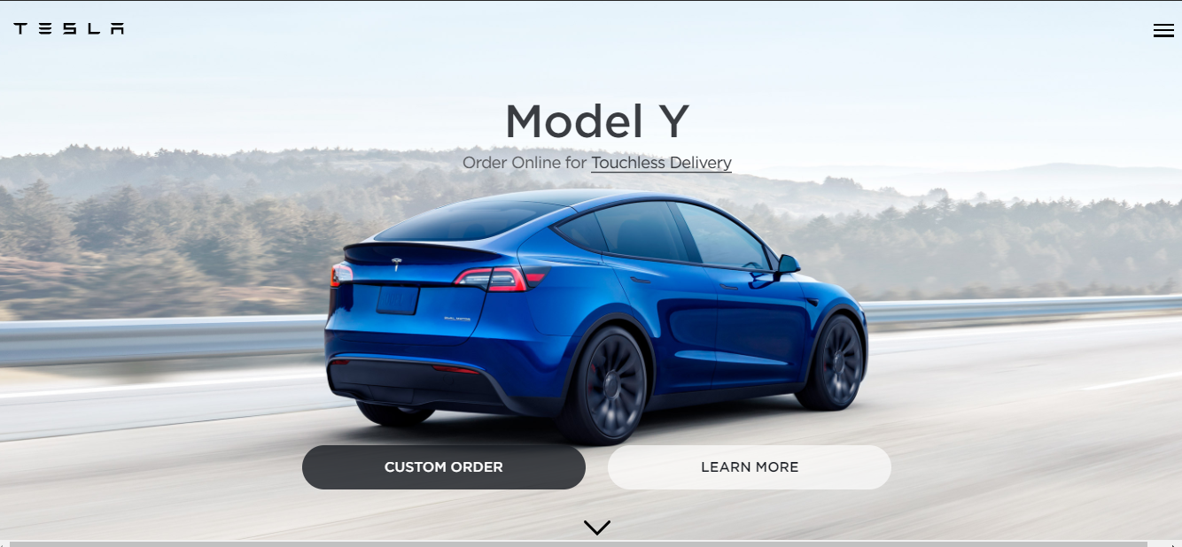 Tesla home page screenshot