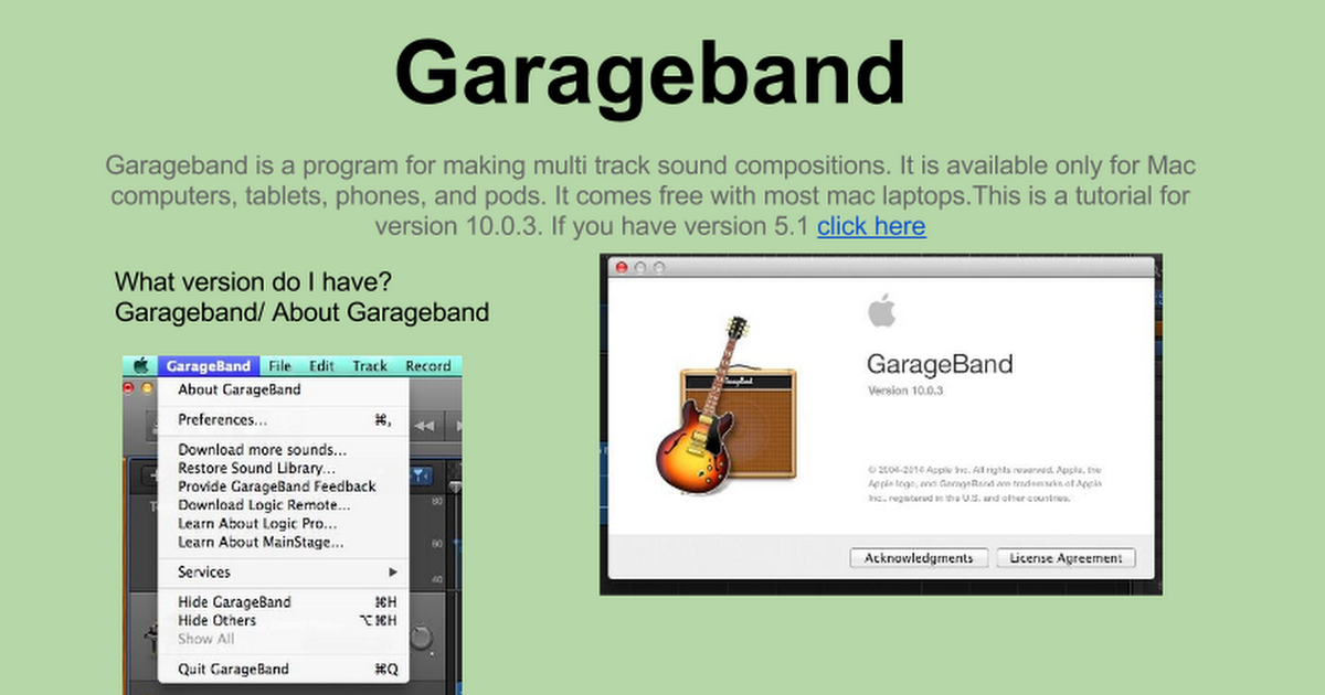 garageband tutorial (V 10 0 3) - Google Slides
