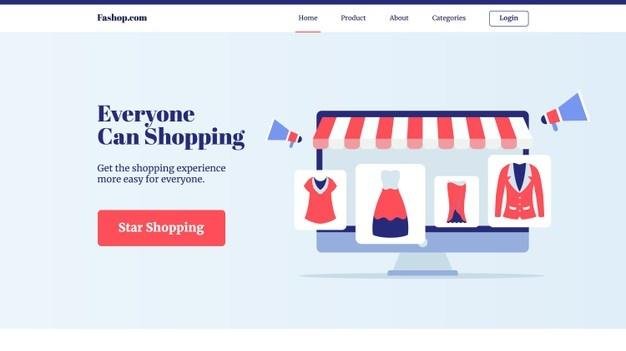 Everyone can shopping clothing set collection in display computer screen e commerce store