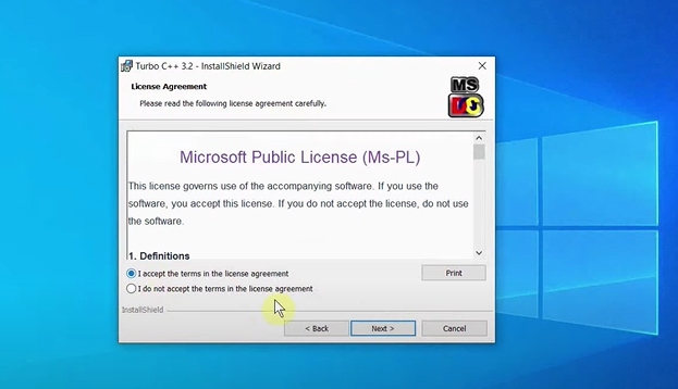 """A window containing the license terms comes up. Click on the checkbox next to """"I accept…"""" and again, click on """"Next"""""""