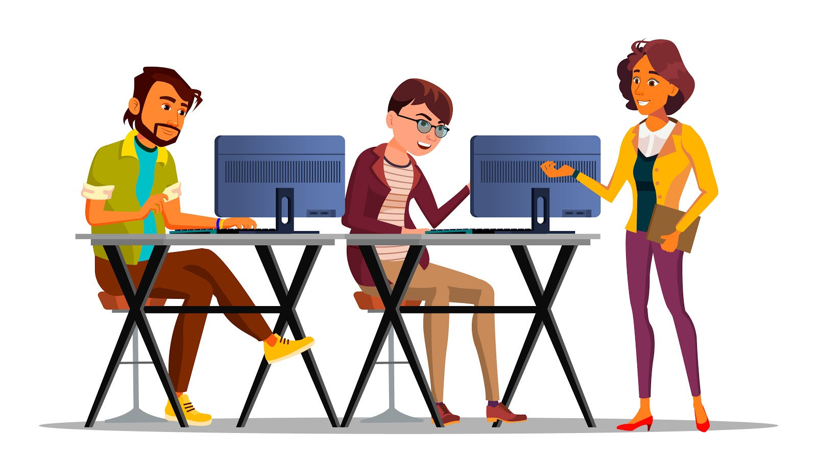 ilustração de colegas de trabalhando