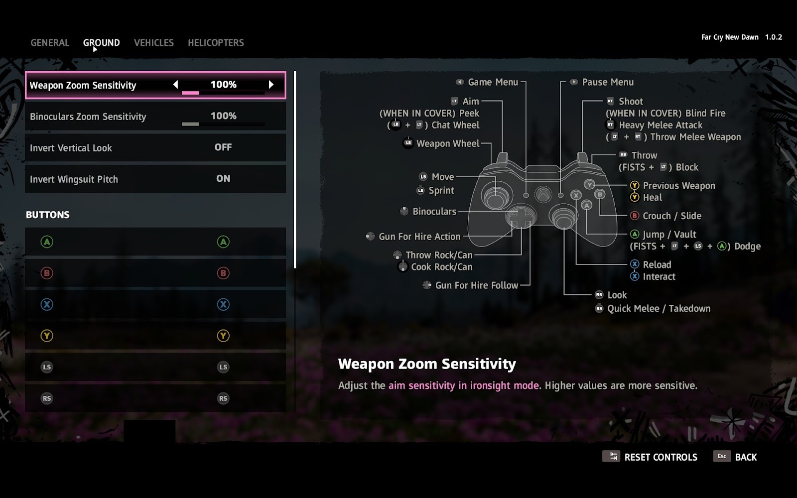 Gamepad sensitivity options and button remapping with a scheme of the controls layout