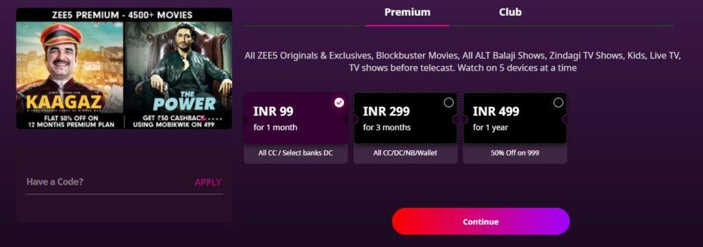 Zee5 price in India