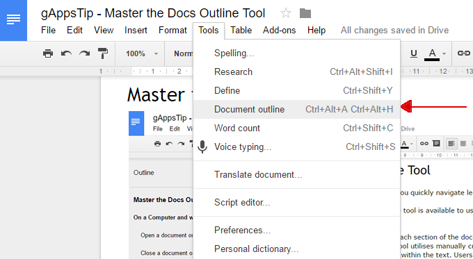 Master the Docs Outline Tool   G Suite Tips