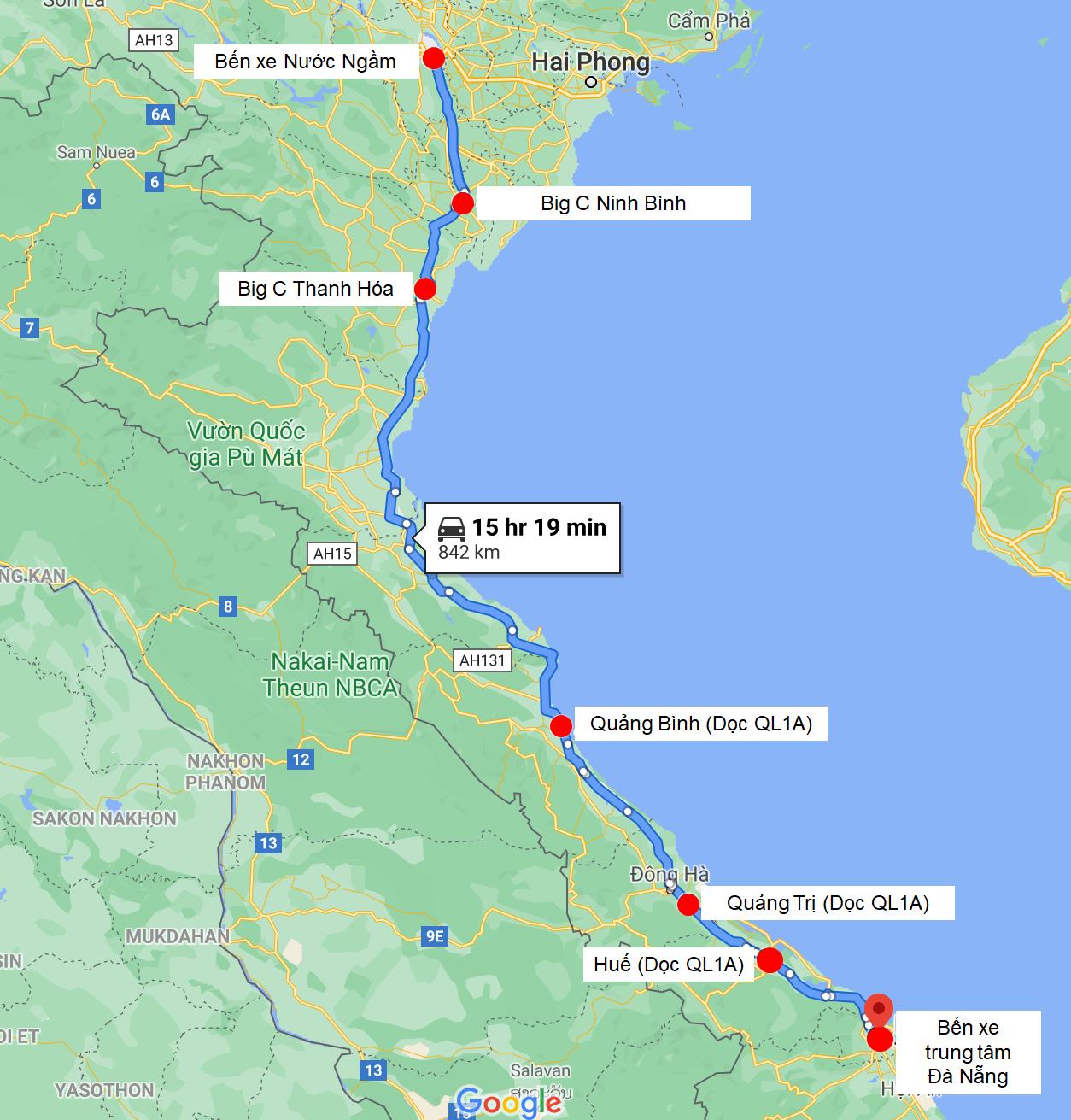 Điểm đón/trả dọc đường của nhà xe Kim Chi 265