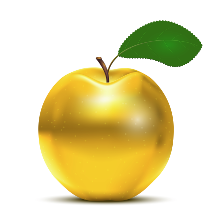 Golden Apple with green leaf