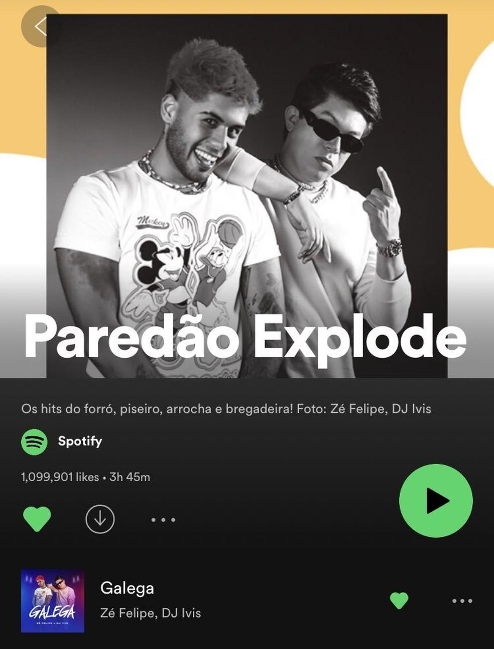 No dia 8 de julho, DJ Ivis estava na imagem de capa e na primeira faixa da playlist 'Paredão explode', uma das prinicipais do Spotify. Hoje, ele não tem nenhuma faixa lá — Foto: Reprodução