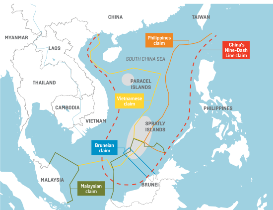 Bildergebnis für map south china sea claims