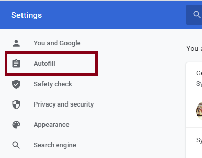 Disable Autofill service from your chrome Browser