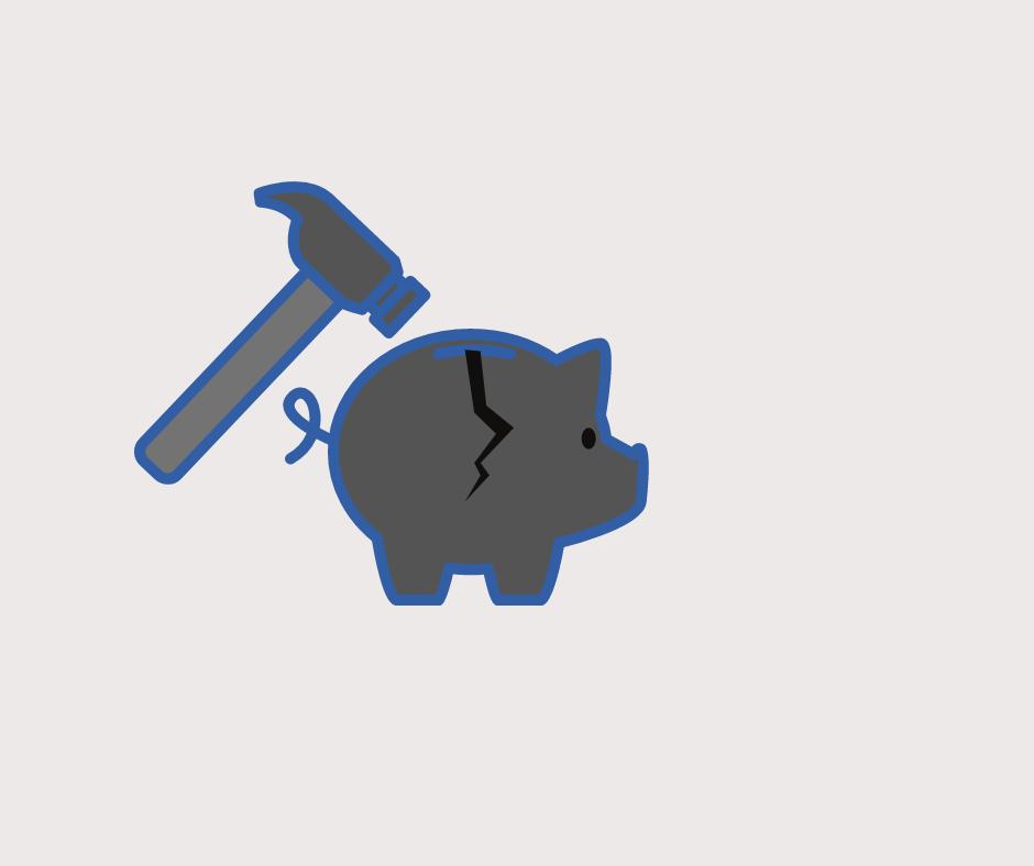 Hammer cracking open a piggy bank.