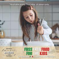 """Image may contain: 1 person, text that says """"*Available every Thursday, sit down only. alina estauraut AL FRESCO austhentisimes FUSS FREE FOOD FOR THE KIDS Get them one FR E meal from the kids menu"""""""