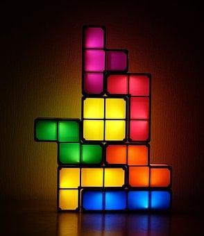 Tetris, Lamp, Deco, Colorful, Blue
