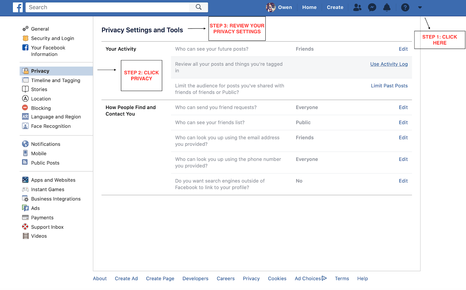 Alter Facebook privacy settings