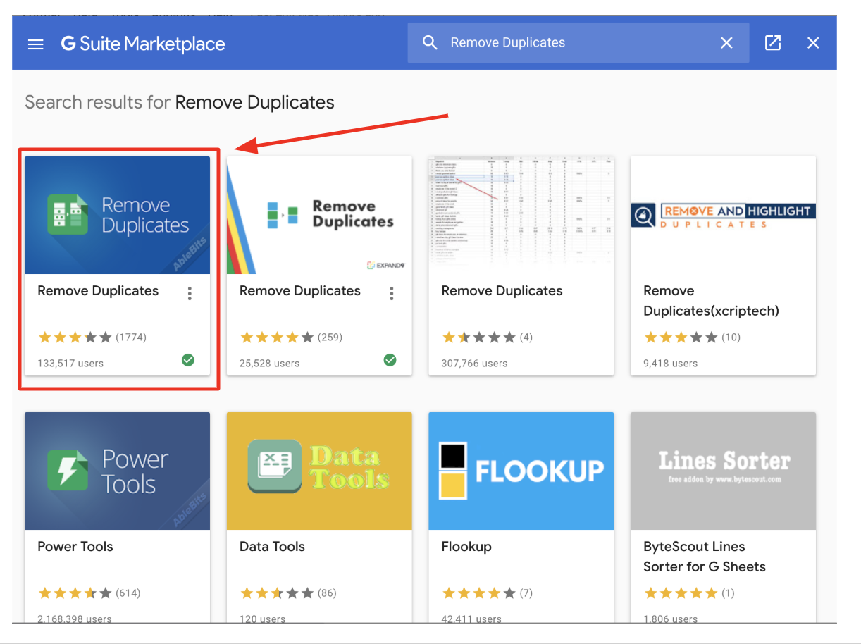 gsuite marketplace remove duplicates products