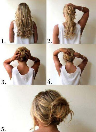 A collage of a person Easy Messy Hairstyle