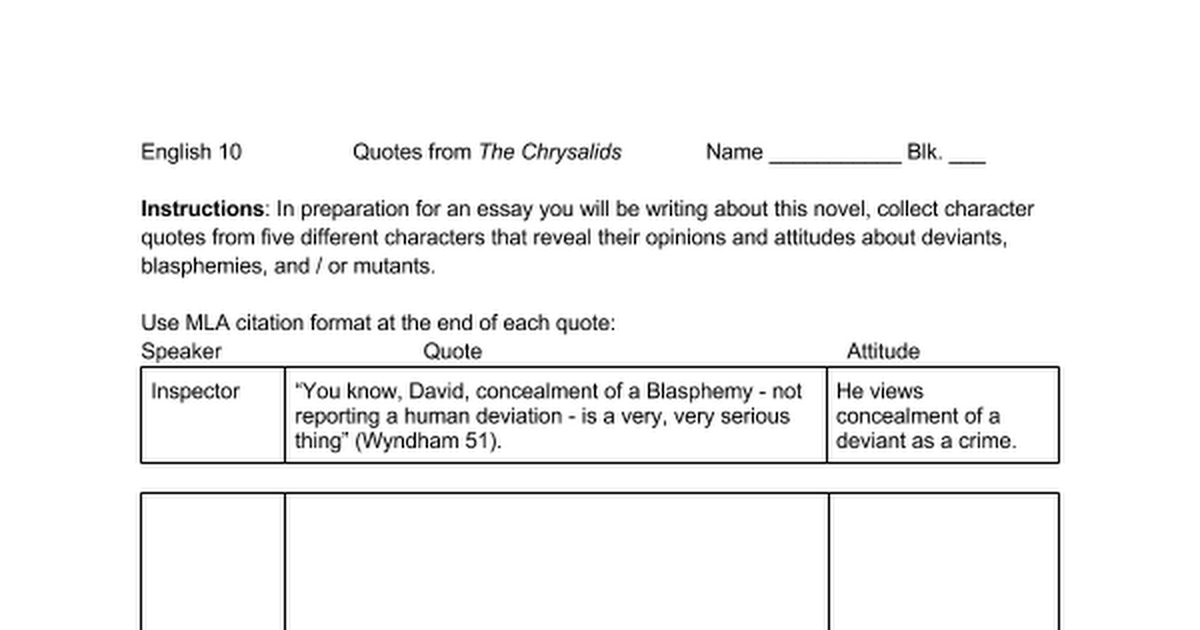 chrysalids exam essay -questions and answers on the biography of john wyndham, author of the chrysalids tues may 8 - the chrysalids online novel - review answers to chapters 3 and 4 - read chapters 5 and 6 -questions and answers on the biography of john wyndham, author of the chrysalids mon may 7 - the chrysalids online novel.