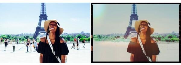 mulher tirando foto com a torre eifel ao fundo