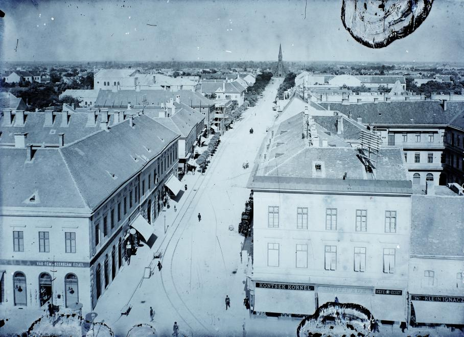Debrecen old town hall from arial perspective