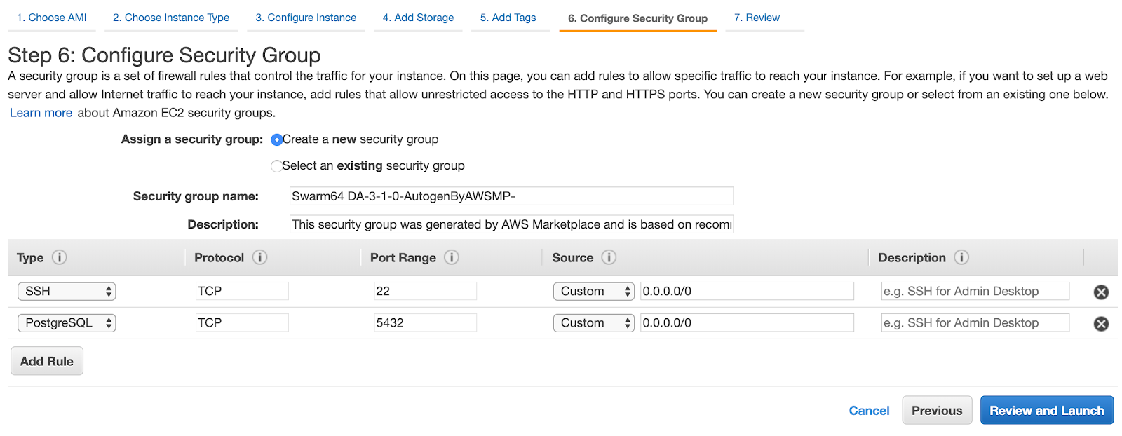 Configure security for your AWS F1 Postgres server