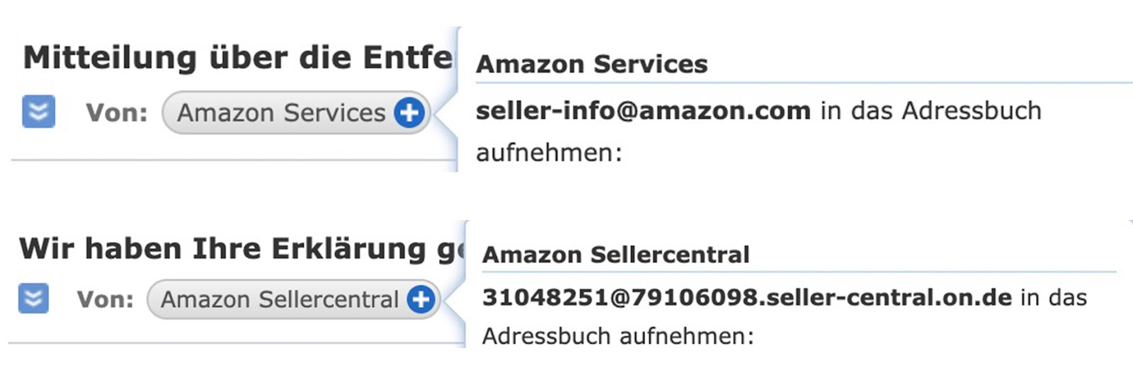 Amazon Sellercentral Email