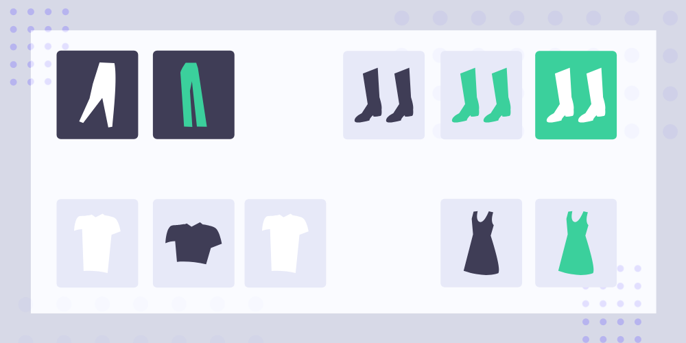 Clothing icons are sorted and categorized by type.