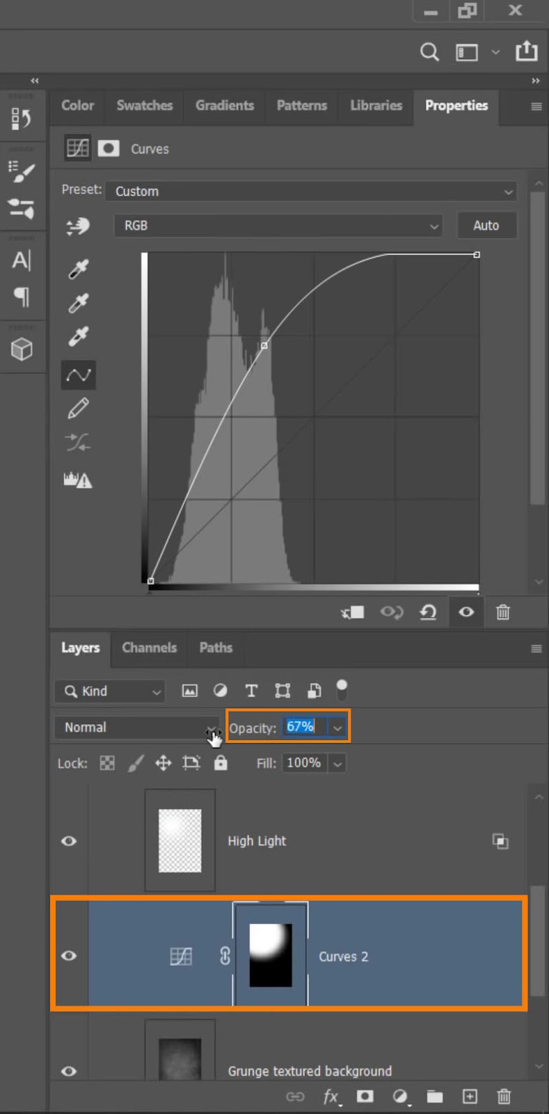 Reduce the Opacity value