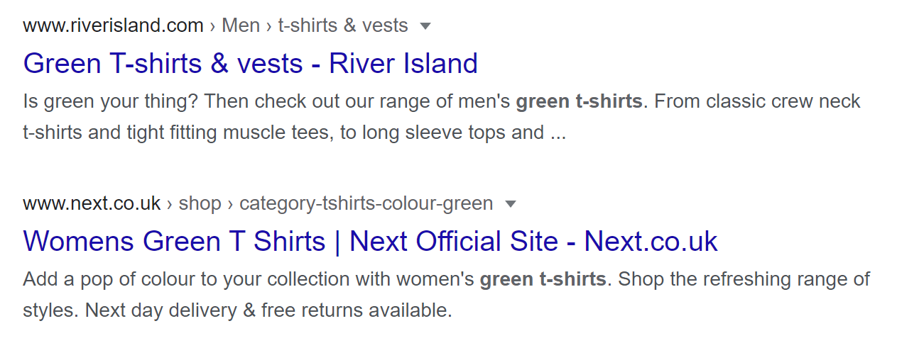 """Screenshot of a Google search results page showing the words """"green t-shirt"""" highlighted in the meta description."""