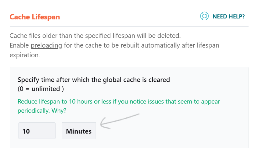 """The cache lifespan """"minutes"""" option is no longer available"""