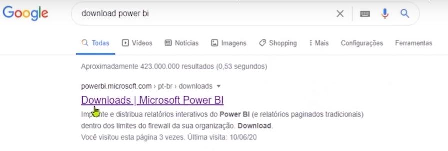 """Como instalar o Power BI: página do Google com """"download power bi"""" escrito no campo de pesquisa."""