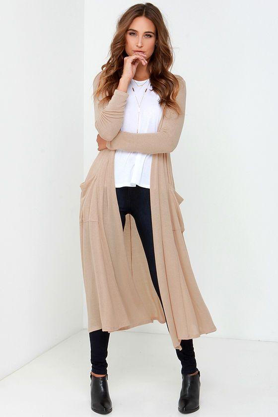 Warm Wishes Beige Long Cardigan Sweater | Long sweaters cardigan, Long  cardigan, Long cardigan outfit