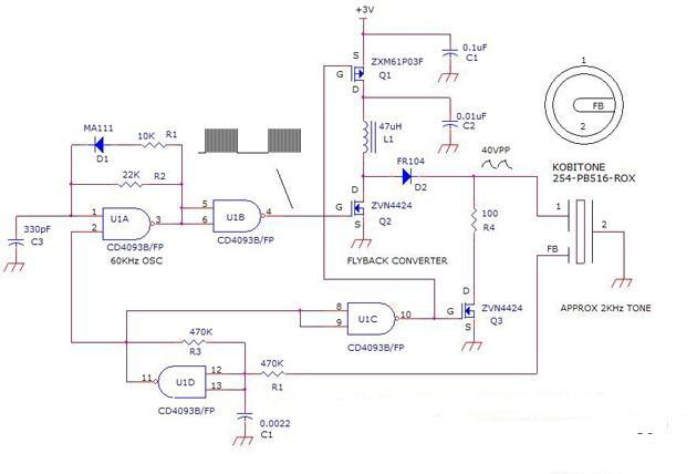 3V Powered Loud Beeper Circuit Diagram