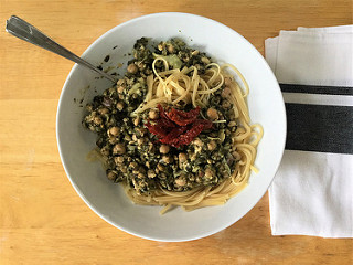 white wine-braised chickpea tempeh and spinach linguine from the slow cooker teaser.jpg