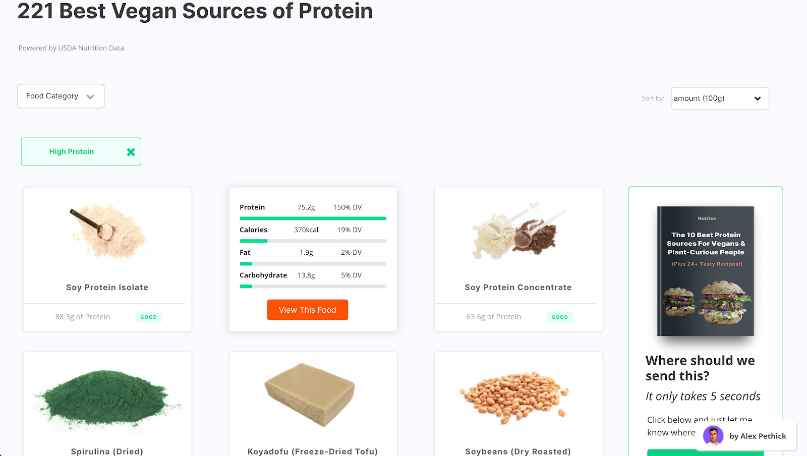 Nutriso will search through thousands of foods and data points to show you a list of all foods that match that criteria