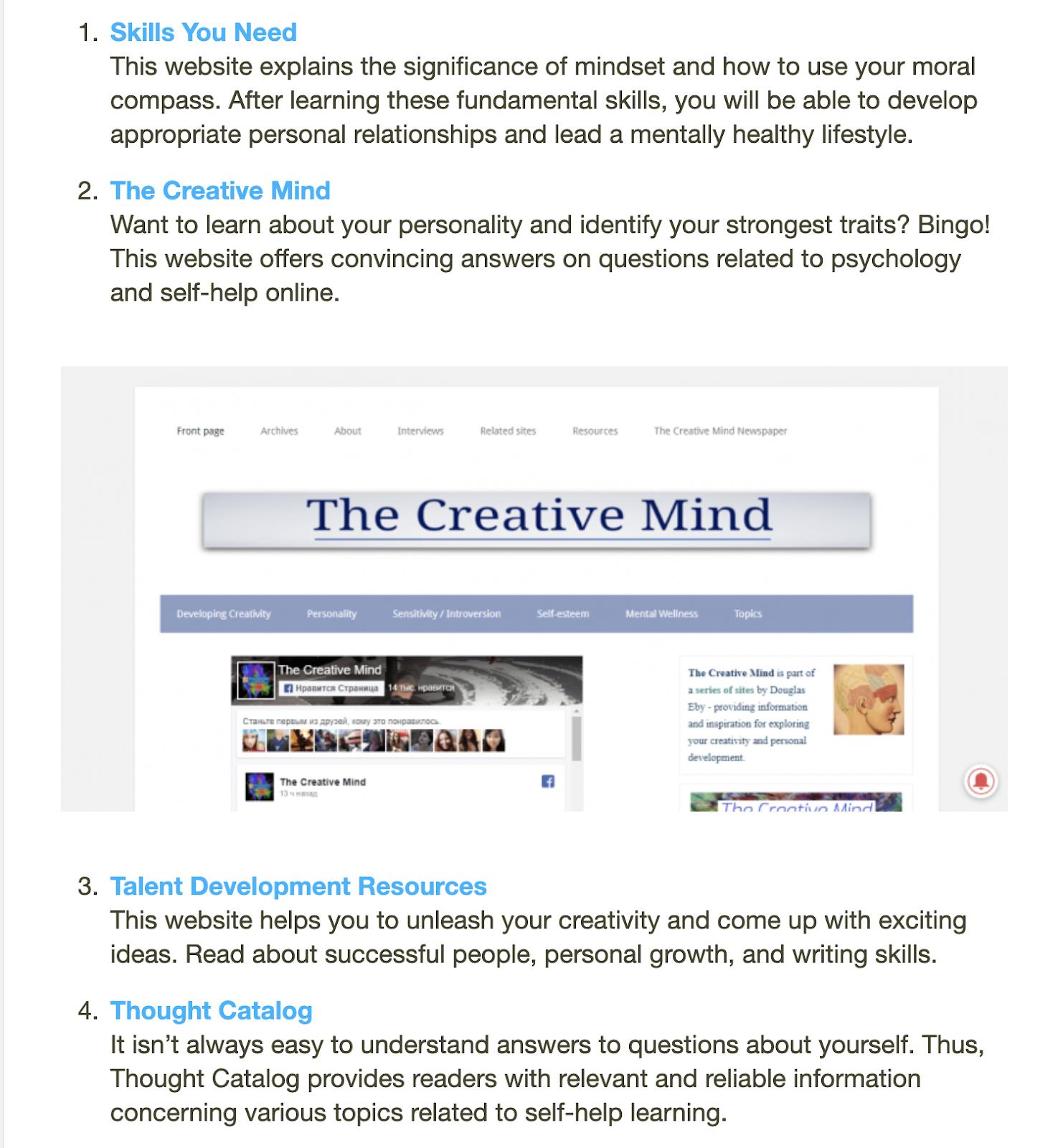 list of 100 self help websites