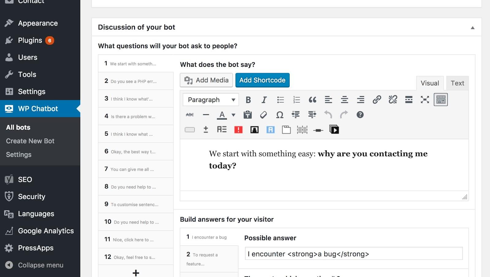 Câu hỏi về Chatbot của WP