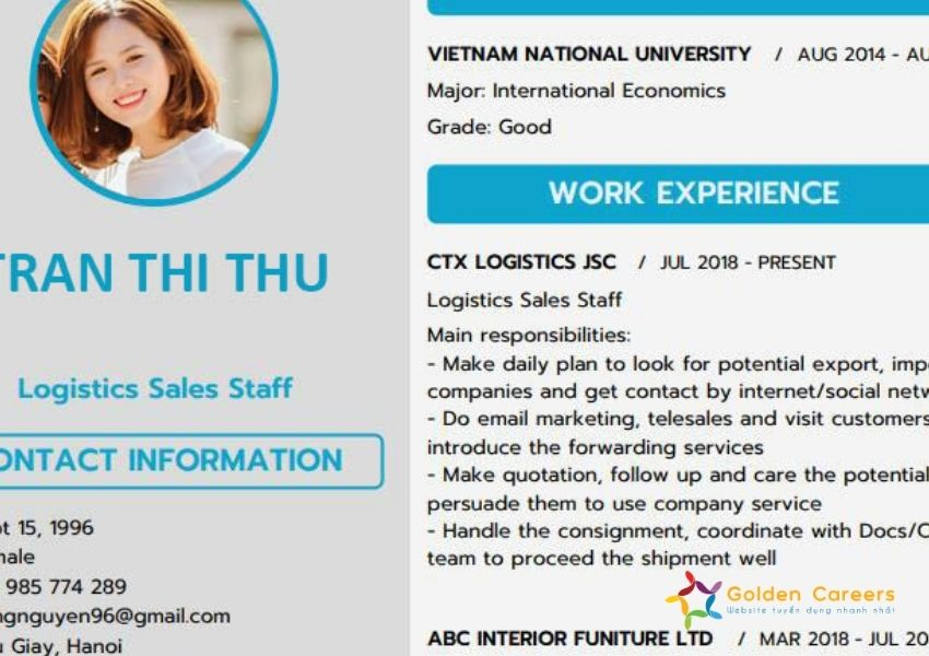 CV cho nhân viên xuất nhập khẩu chưa có kinh nghiệm