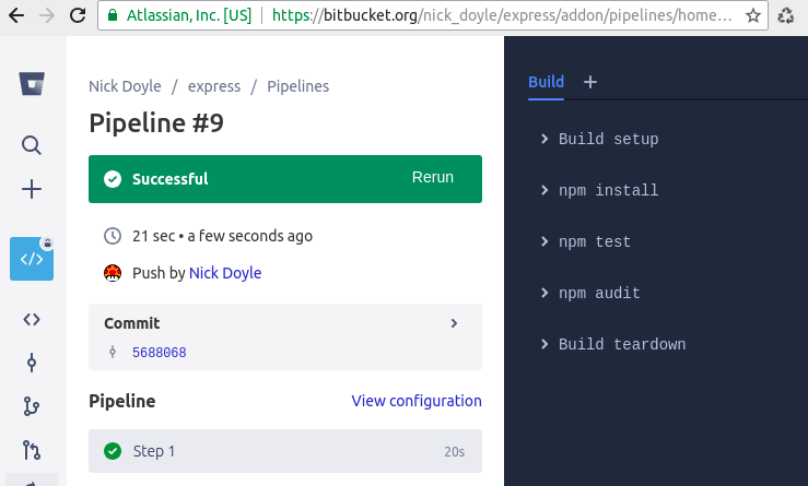 DevSecOps with Bitbucket Pipeline for a Node js app - Auditing