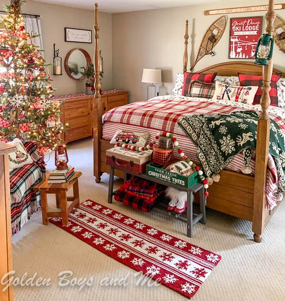 Red and Green Christmas Interior Design
